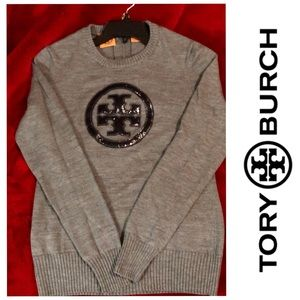 Tory Burch Gray Logo Wool Sweater